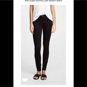 J Brand 485 Mid-Rise Super Skinny in Luxe Sateen